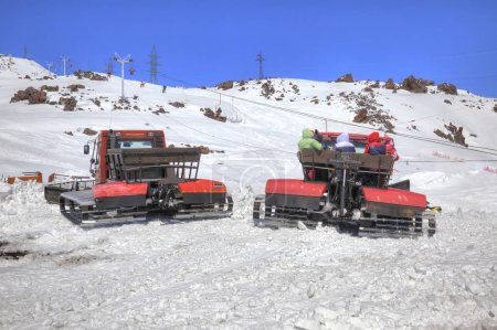 Elbrus. Snow grooming on the slope of mountain
