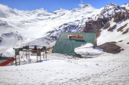 Elbrus. Hotel on the slope of mountain