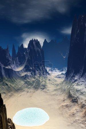 Fantasy alien planet. Mountain and lake. 3D illust...