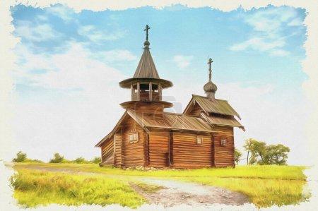 Ölfarbe auf Leinwand. Bild mit Foto, Nachahmung der Malerei. eine von vielen alten Holzkirchen im Museumskomplex. Illustration