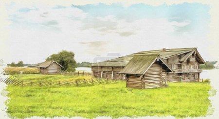 Ölfarbe auf Leinwand. Bild mit Foto, Nachahmung der Malerei. Blick auf die alten Dorfhäuser und Ufer des Onega-Sees. Illustration