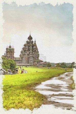 Ölfarbe auf Leinwand. Bild mit Foto, Nachahmung der Malerei. Blick auf das Feld und die alte orthodoxe Kirche Verklärung. Illustration