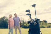 Golf bag standing on a grass field, older couple in the blurred background. Active leisure time.