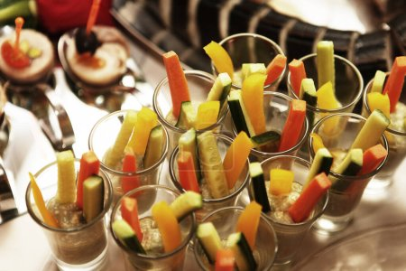 Photo for Assorted raw vegetables sticks - carrot, cucumber - Royalty Free Image