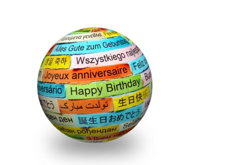 Happy Birthday in  different languages on 3d sphere