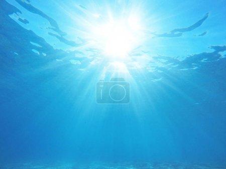 Photo for Underwater sea scene sunshine light through water - Royalty Free Image