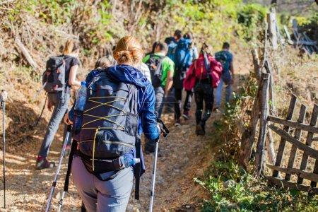 Photo pour Groupe de personnes actives avec sac à dos marchant sur une route rurale le jour d'automne. Randonnée. Aventure. Mode de vie sain . - image libre de droit