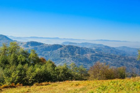 Photo for Rural autumn landscape, beautiful view on hills and forest. Location Serbia. - Royalty Free Image