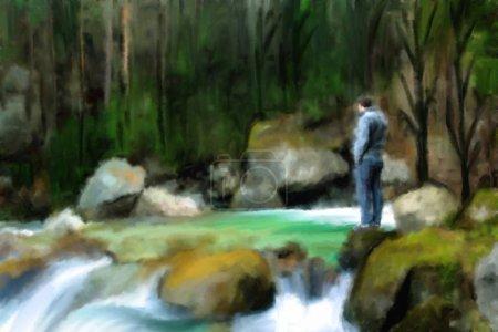 Ölgemälde auf Leinwand, Landschaft: Mann am Fluss im tiefen Wald