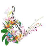 Abstract treble clef decorated with tropical leaves