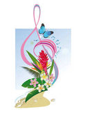 Abstract treble clef decorated with tropical leaves and flowers
