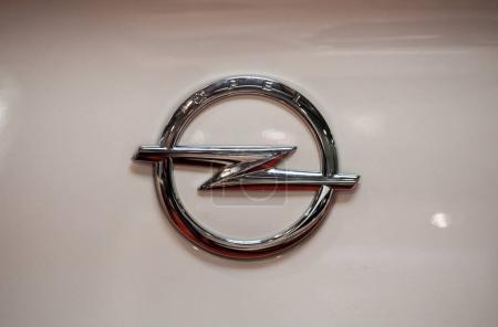 Opel metallic logo closeup on