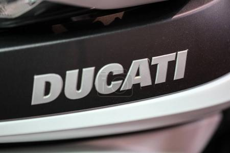Ducati logo closeup on Ducati