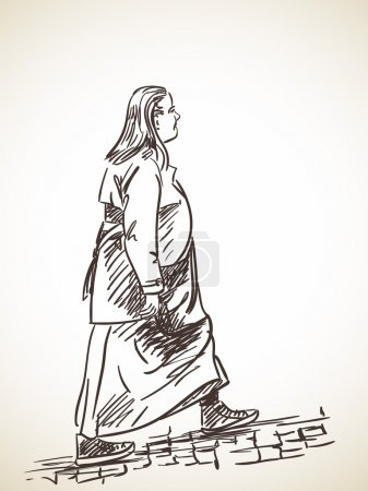 Sketch of woman walking on stone pavement