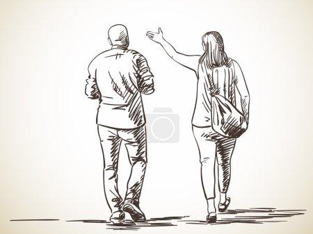 Sketch of walking couple