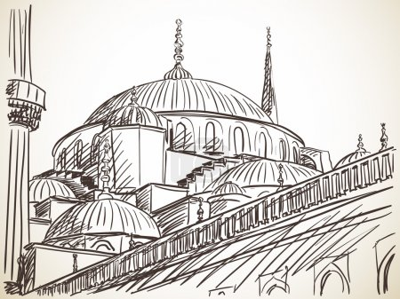 Illustration for Mosque in Istanbul sketch, vector illustration - Royalty Free Image