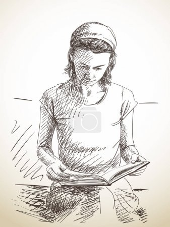 Sketch of woman reading book