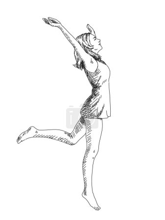 Photo for Sketch of Jumping woman. Hand drawn vector illustration. - Royalty Free Image