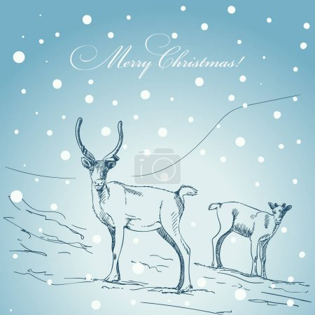 Christmas card with couple of rein deers