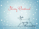 Christmas card with hand drawn reindeer on blue winter background