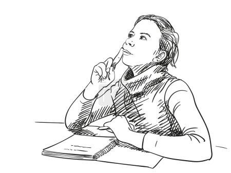 Illustration pour Croquis de la pensée fille avec cahier sur la table, illustration vectorielle dessinée à la main - image libre de droit