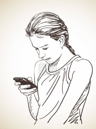 Sketch of teenager girl using smart phone, Hand dr...