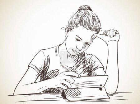 Girl focused on using tablet