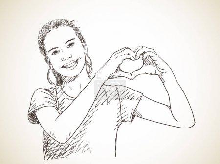 Illustration pour Croquis de l'adolescente montrant les mains en forme de coeur, illustration vectorielle dessinée à la main - image libre de droit
