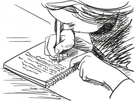 Illustration pour Esquisse de fille écrivant dans un cahier Illustration vectorielle dessinée à la main - image libre de droit