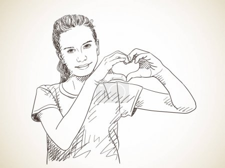 Illustration for Sketch of teenage girl showing hands in heart form, Hand drawn vector illustration - Royalty Free Image
