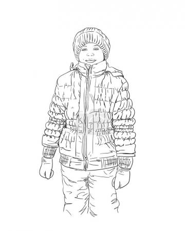 Illustration for Sketch of young girl in winter clothes Hand drawn vector illustration - Royalty Free Image