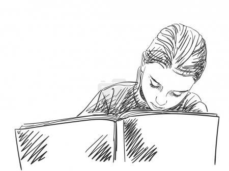 Sketch of schoolgirl doing homework