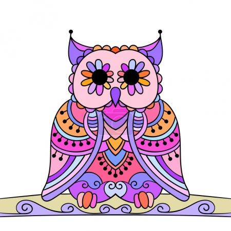 Illustration for Hand-drawn Ornamental owl isolated on white background, Vector illustration - Royalty Free Image