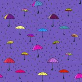 Seamless pattern of umbrellas and raindrops vector illustration