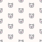 Cute pigs seamless pattern vector illustration