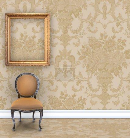 Photo pour Chambre avec papier peint damassé bronzé, une chaise en velours, et un cadre photo en or vide avec chambre pour le texte - image libre de droit