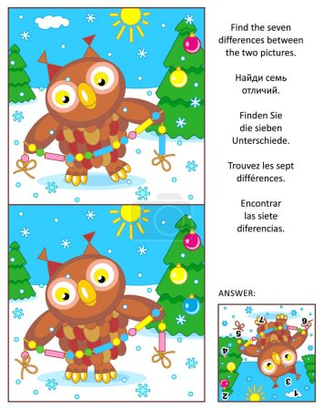 Holiday find the differences picture puzzle with owl and garland