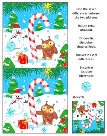 Holiday find the differences picture puzzle with candy cane
