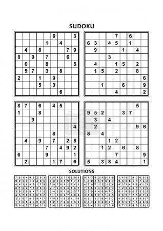 Illustration pour Quatre puzzles de sudoku de niveau confortable (facile, mais pas très facile), en format A4 ou Lettre avec marges, adaptés aux livres en gros caractères, réponses incluses - image libre de droit