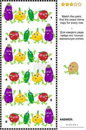 Puzzle visuel avec des rangées de personnages de légumes mignons