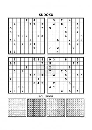Illustration pour Quatre puzzles sudoku de niveau confortable (facile, mais pas très facile), en format A4 ou Lettre avec marges, adaptés aux livres en gros caractères, réponses incluses. Set 3 . - image libre de droit