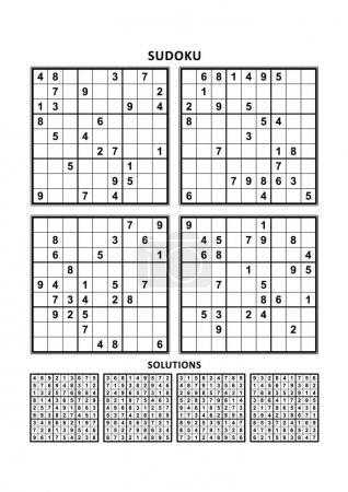 Illustration pour Quatre puzzles sudoku de niveau confortable (facile, mais pas très facile), en format A4 ou Lettre avec marges, adaptés aux livres en gros caractères, réponses incluses. Set 5 . - image libre de droit