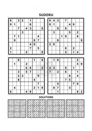 Illustration pour Quatre puzzles sudoku de niveau confortable (facile, mais pas très facile), en format A4 ou Lettre avec marges, adaptés aux livres en gros caractères, réponses incluses. Set 6 . - image libre de droit