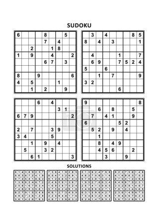 Illustration pour Quatre puzzles sudoku de niveau confortable (facile, mais pas très facile), en format A4 ou Lettre avec marges, adaptés aux livres en gros caractères, réponses incluses. Set 7 . - image libre de droit