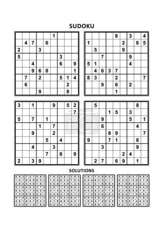 Illustration pour Quatre puzzles sudoku de niveau confortable (facile, mais pas très facile), en format A4 ou Lettre avec marges, adaptés aux livres en gros caractères, réponses incluses. Set 8 . - image libre de droit