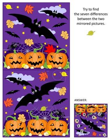 Halloween trouver les différences entre les images en miroir puzzle avec des chauves-souris volantes et champ de citrouille