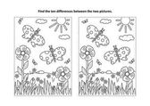 Spring or summer joy themed find the ten differences picture puzzle and coloring page with butterflies flowers grass