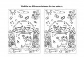 Summer joy themed find the ten differences picture puzzle and coloring page with happy playful frogs swimming in a bucket full of water