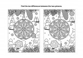 Winter holidays New Year or Christmas themed find the ten differences picture puzzle and coloring page with christmas tree ornament