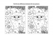 Winter holidays New Year or Christmas themed find the ten differences picture puzzle and coloring page with Santa delivering presents in his sack full of toys and gifts